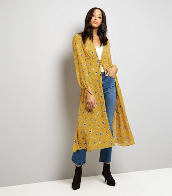 Tall Yellow Floral Print Lace Up Longline Kimono