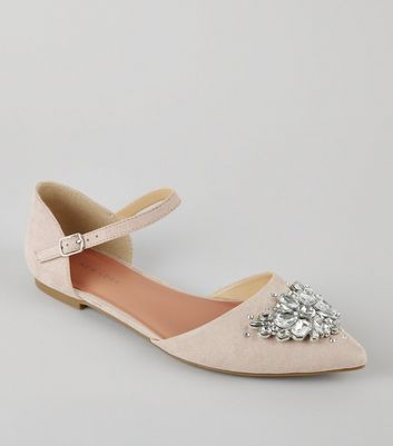 Light Pink Suedette Embellished Pointed Pumps