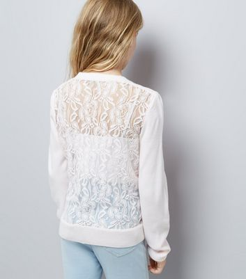 Teens Shell Pink Lace Back Cardigan