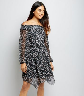 Petite Black Floral Hanky Hem Bardot Neck Dress