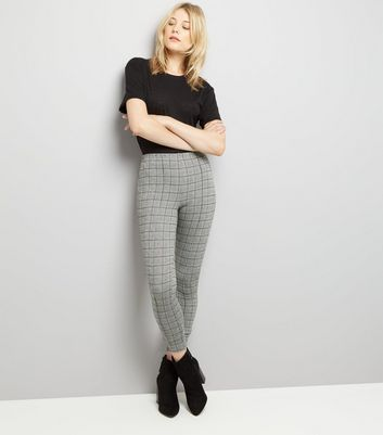 Grey Check Seam Front Leggings