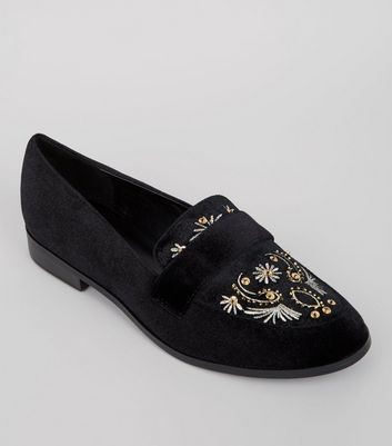 Black Velvet Embroidered Loafers
