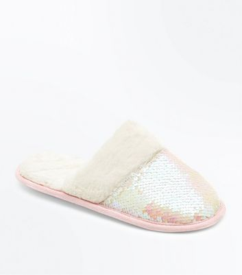 White Iridescent Sequin Mule Slippers