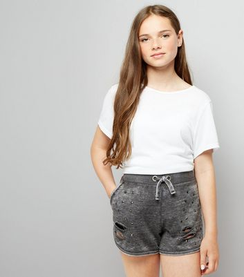 Teens Grey Studded Jersey Shorts