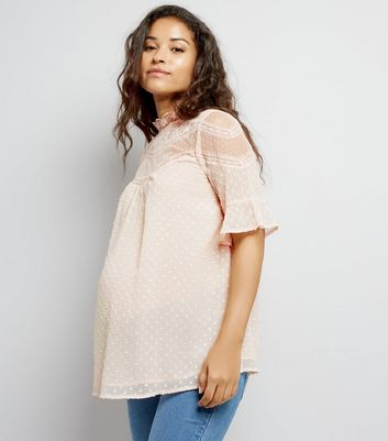 Maternity Pink Spot Texture High Neck Top