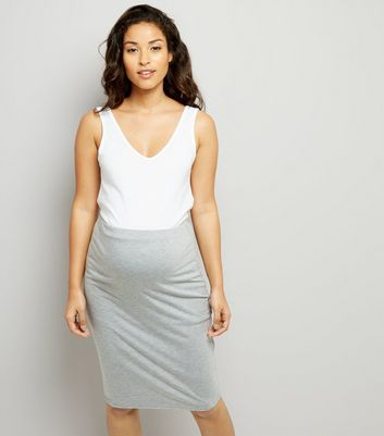 Maternity Grey Jersey Midi Skirt