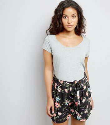 Maternity Black Floral Print Shorts