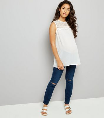 Maternity Dark Blue Under Bump Ripped Knee Jeans