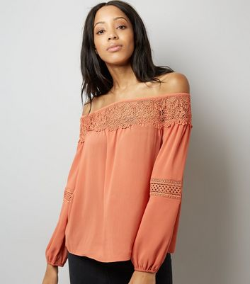 Tall Coral Crochet Lace Trim Bardot Neck Top