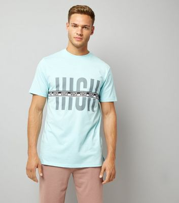 Pale Blue Vibes Tape Print T-Shirt