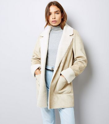 Stone Faux Shearling Double Pocket Coat