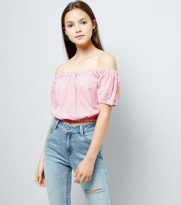 Teens Pink Gingham Bardot Neck Top