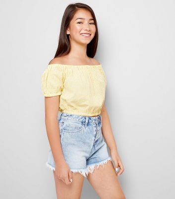 Teens Yellow Gingham Bardot Neck Top