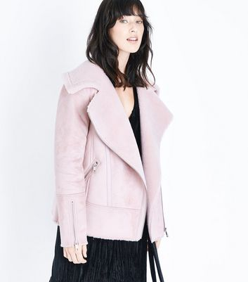 Pink Faux Shearling Aviator Jacket