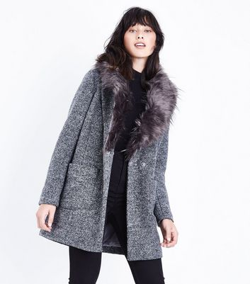 Black Speckled Faux Fur Collar Coat | New Look