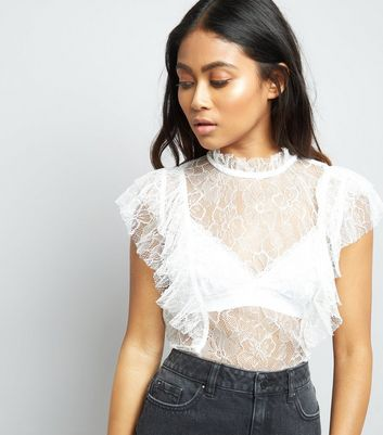 Petite Cream Sheer Lace Frill Trim Top