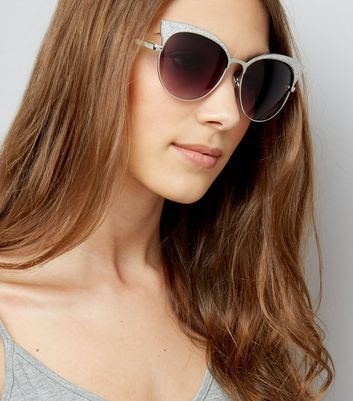 Silver Glitter Cat Eye Sunglasses