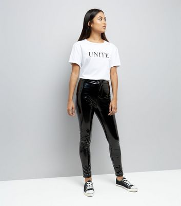 Petite Black Patent High Waist Skinny Trousers