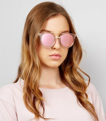 Pink Lens Mirrored Glasses