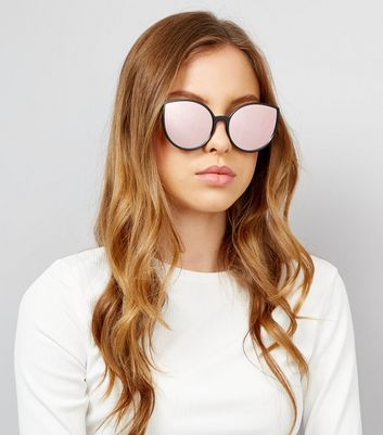Black Mirror Lens Cat Eye Sunglasses