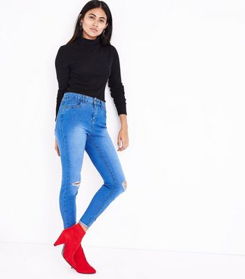 Petite Blue Ripped Knee Skinny Jeans