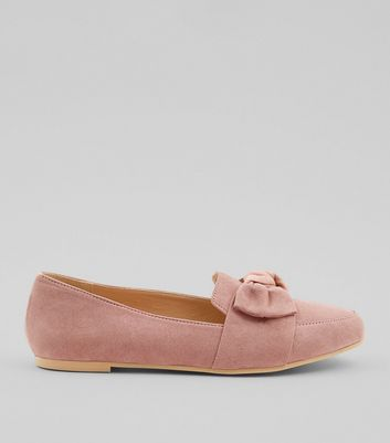 Teens Pink Suedette Bow Front Loafers