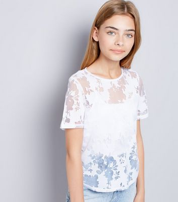 Teens White Floral Burnout T-Shirt