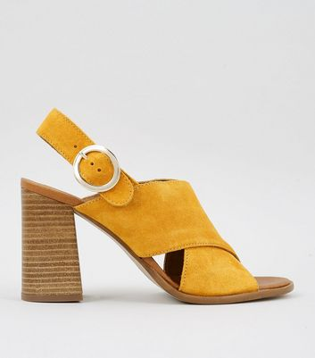 Yellow Leather Block Heeled Sandals