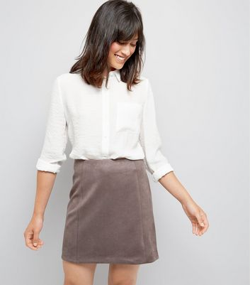 Grey Suedette A-Line Mini Skirt