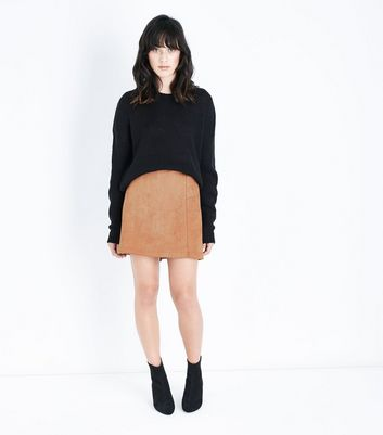 Tan Suedette A-Line Mini Skirt