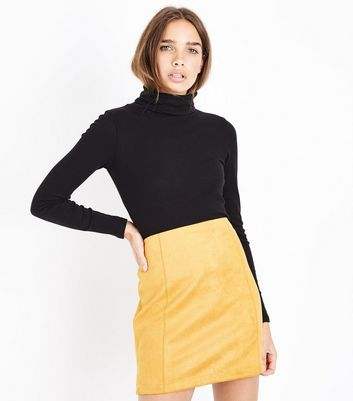 Yellow Suedette A-Line Mini Skirt