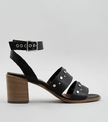 Black Premium Leather Stud Block Heel Sandals