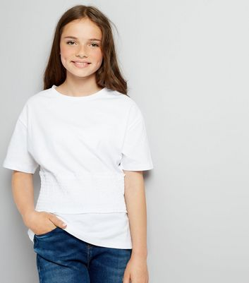 Teens White Shirred Waist T-Shirt