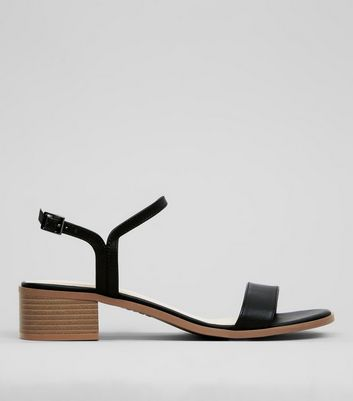 Black Low Block Heeled Sandals