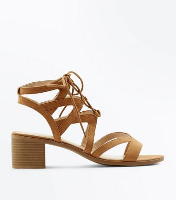 Tan Strappy Block Heel Sandals