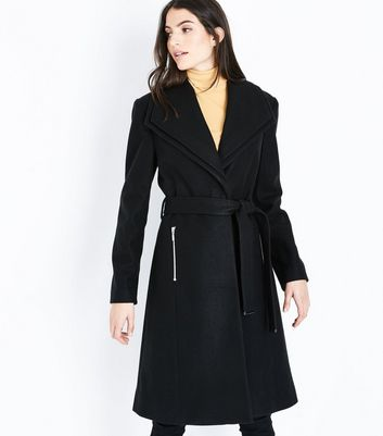Black Layered Collar Belted Coat
