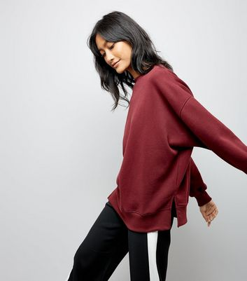 Burgundy Slouchy Split Side Sweater