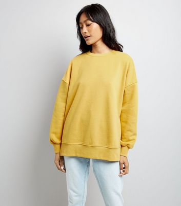 Mustard Yellow Slouchy Split Side Sweatshirt