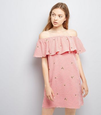 Red Floral Embroidered Gingham Bardot Neck Dress