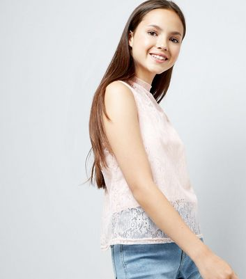 Teens Shell Pink Lace High Neck Top