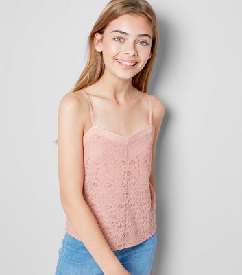 Teens Shell Pink Lace Cami