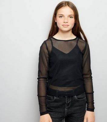 Teens Black Ribbed Mesh Long Sleeve Top