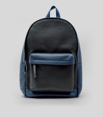 Black Colour Block Leather-Look Backpack