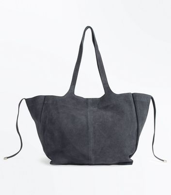 Grey Suede Slouchy Tote Bag