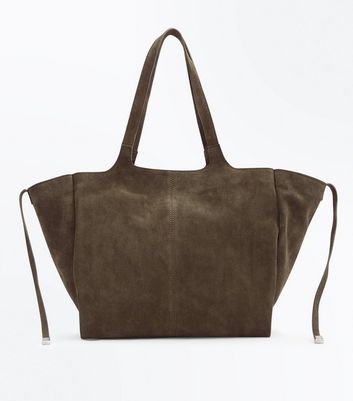 Khaki Suede Slouchy Tote Bag