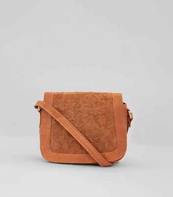 Tan Floral Embossed Saddle Bag