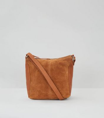 Tan Suede Zip Top Shoulder Bag