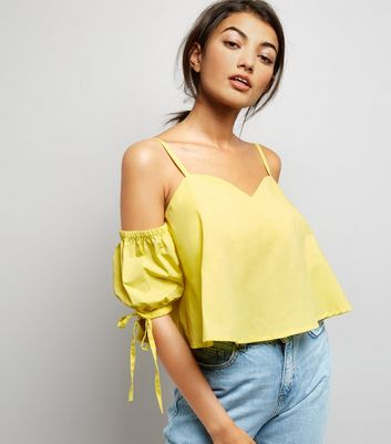 Yellow Cold Shoulder Cami Top