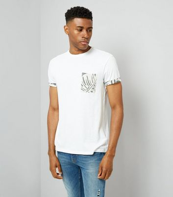 White Leaf Print Pocket T-Shirt