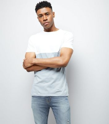 Pale Blue Colour Block T-Shirt